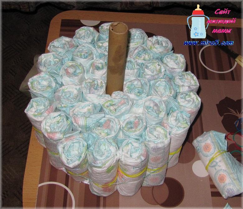 Букет из памперсов своими руками пошагово фото 51